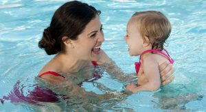 Mom and baby in the pool