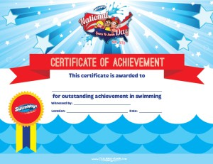 Swim Certificate of Achievement