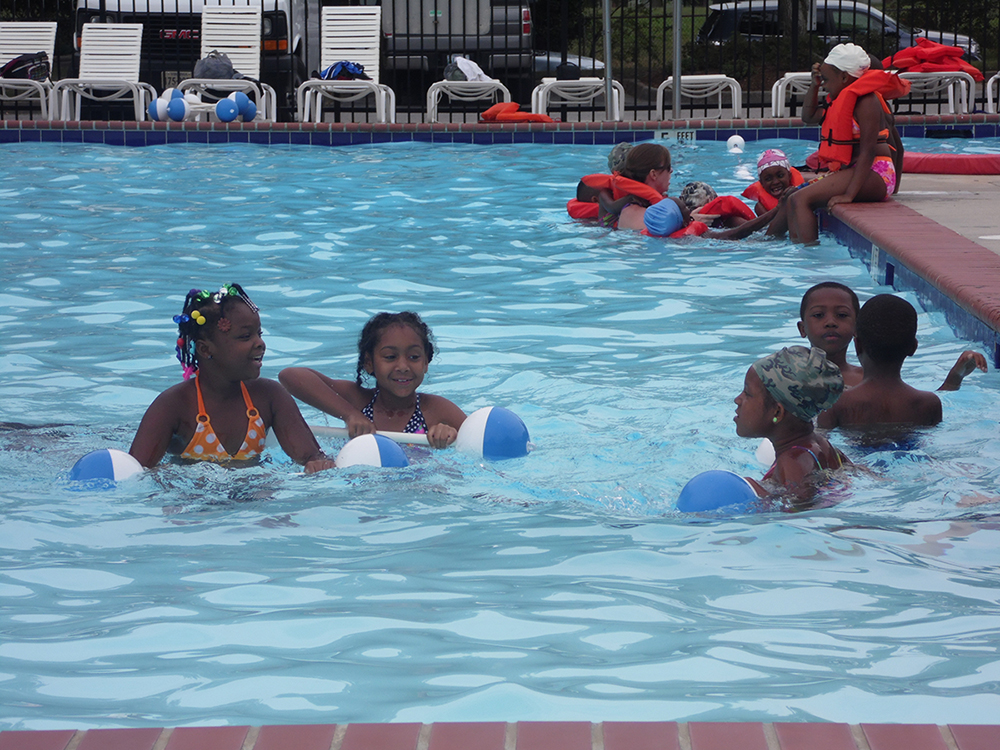 After the initial plunge children were using flotation devices to float alone