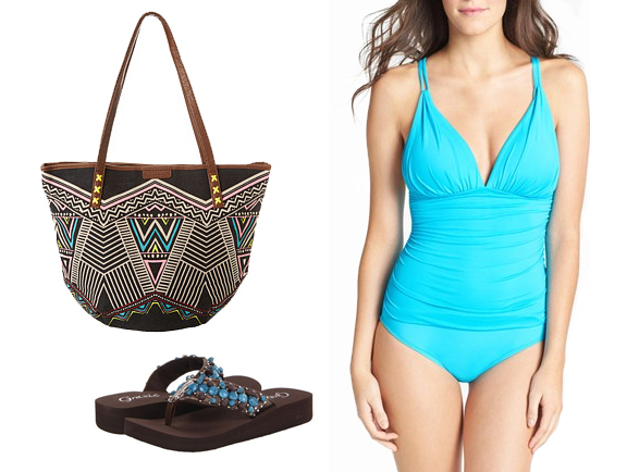 A little bit of bohemia goes well with this bright solid one-piece