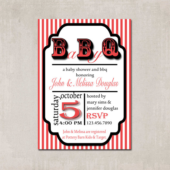 Babyque Shower Invitation with Matching Decorative Sign - Printable & Personalized