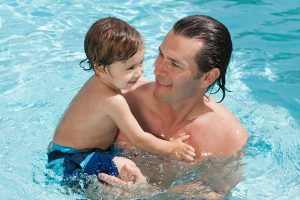 Dad and Baby in the Pool
