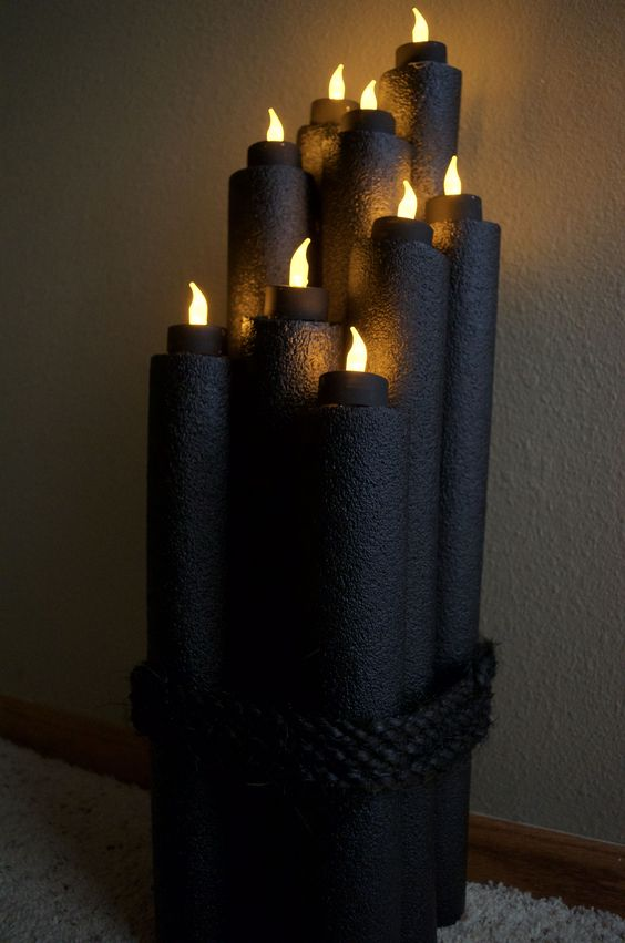 Pool Noodle Halloween Candles