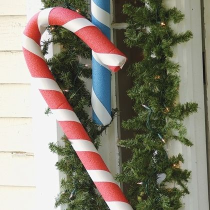 Pool Noodle craft- candy canes